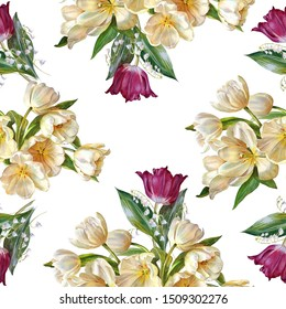 Seamless floral pattern. Luxurious tulips and lilies of the valley on a white background. Botanical illustration. Watercolor painting.