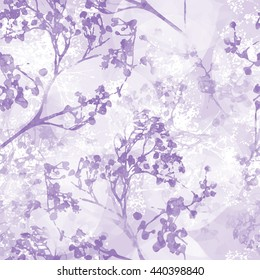 Seamless floral pattern in magenta tone with watercolor texture