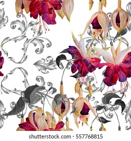 Seamless floral pattern in modern style.Fuchsia flowers with black leaves on a white background. Watercolor painting.