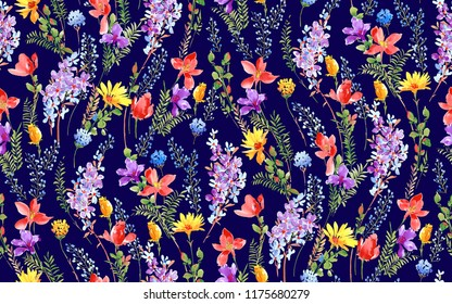 seamless floral pattern navy background