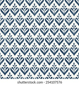 Seamless floral pattern on paper texture. Cobalt blue collection