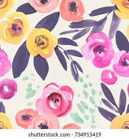 Seamless floral pattern on paper texture. Botanical watercolor background