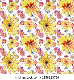 Seamless floral pattern on white background with watercolor blooming colorful flowers