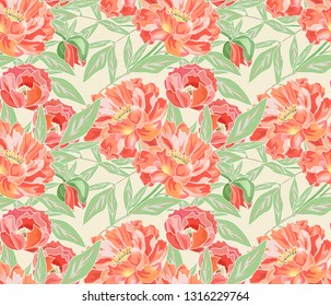 Seamless floral pattern. Orange peonies on a light background.