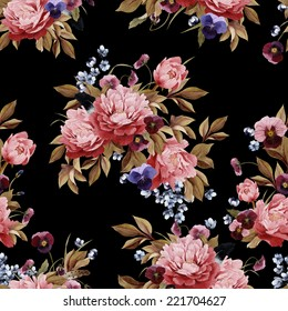 Seamless floral pattern with peonies and pansy, watercolor.