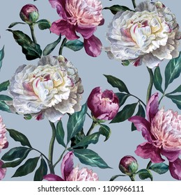 Seamless floral pattern. Peonies are white and purple on a lavender  background. Watercolor painting. Botanical illustration.