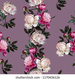 Seamless floral pattern. Peonies are white and purple on a dark lilac background. Watercolor painting. Botanical illustration.