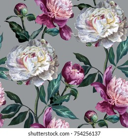 Seamless floral pattern. Peonies are white and purple on a silver background. Watercolor painting. Botanical illustration.