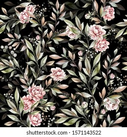 seamless floral pattern with peony flowers and leaves. hand drawn watercolor botanical background. pattern for textile design and fabrics
