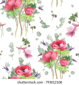 Seamless floral pattern with pink anemones, clematis and branches of eucalyptus, watercolor painting
