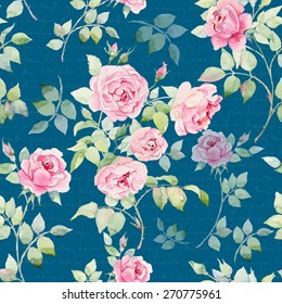 Seamless floral pattern with pink roses on blue background, watercolor.