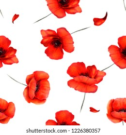 Seamless floral pattern with poppies. Hand drawn watercolor