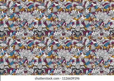 Seamless Floral Pattern in Raster illustration. Flowers on white, black, gray, blue and purple colors.