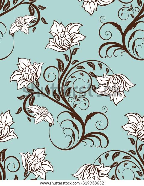Seamless floral pattern.  Raster illustration.
