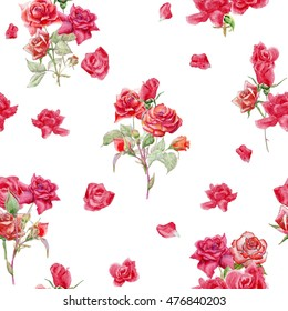 Seamless floral pattern with roses, watercolor. Pattern of rose. Rose Fabric background. Beautiful Seamless color rose pattern. Classic small rose seamless background.