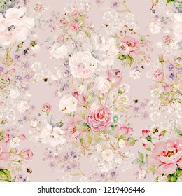 Seamless floral pattern of roses, wildflowers and bumblebees. Beautiful pattern of watercolor sketching flowers and bumblebees. Delicate vintage flowers for your decor and greetings.