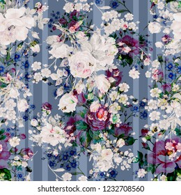 Seamless floral pattern of roses, wildflowers and bumblebees. Beautiful pattern of watercolor sketching flowers and bumblebees. Pattern for fabric and wallpaper, for design and decoration.