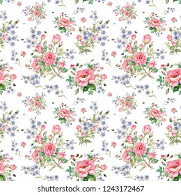 Seamless floral pattern of roses, wildflowers and bumblebees. Beautiful pattern for fabrics and wallpapers, for design and decoration.