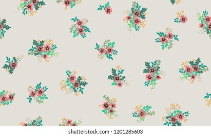 Seamless floral pattern with simple small flowers. Folk style millefleurs. Plant background for textile, wallpaper, covers, surface, print, wrap, scrapbooking, decoupage.