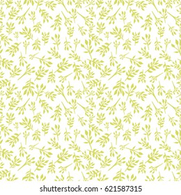Seamless floral pattern with smaller plants and leaves. A simple background with flowers. Raster illustration for printing on fabric, covers, wrapping paper. packaging, scrap booking, Wallpaper. Green
