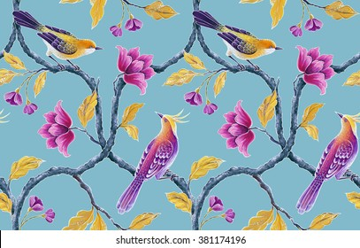 seamless floral pattern, spring flowers and birds background, hand painted chinoiserie wallpaper