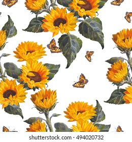 Seamless floral pattern sunflowers on white background. Butterflies.  Watercolor painting.