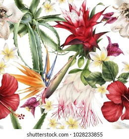 Seamless floral pattern with tropical flowers, watercolor.