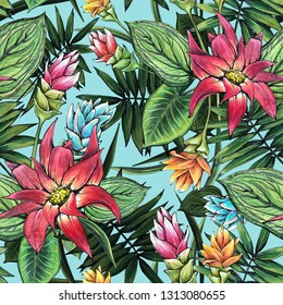 Seamless floral pattern of tropical flowers and leaves. Graphics and watercolor handmade.