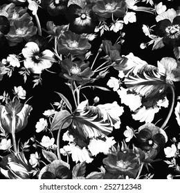 Seamless floral pattern with tulips, pansy, dogrose and buttercup, watercolor