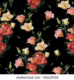 Seamless floral pattern in victorian style. Bouquet of lisianthus, isolated on black background background.Watercolor painting. Botanical illustration.Wedding floristry.