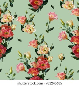 Seamless floral pattern in victorian style. Bouquet of lisianthus, isolated on an olive background.Watercolor painting. Botanical illustration.