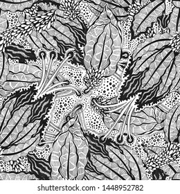 Seamless floral pattern vintage flowers art black and white graphic raster pattern. Fineliner pen on paper illustration