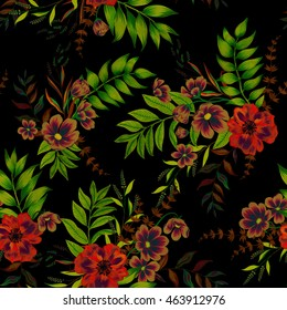 Seamless floral pattern with vintage style illustration. Exotic garden flowers in beautiful arrangements,layered, on black background. Beautiful meadow flowers, daisies, roses.