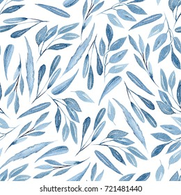 Seamless floral pattern with watercolor blue branches with leaves, hand drawn isolated on a white background