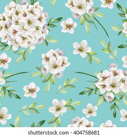 Seamless floral  pattern with white flowers. Watercolor hand drawn
