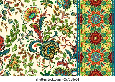Seamless floral patterns set. Vintage flowers backgrounds and borders.  colorful ornaments.