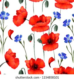 Seamless floral poppy pattern. Hand drawn watercolor