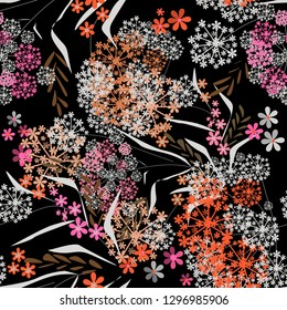 Seamless floral small flowers leaves vintage retro pattern background