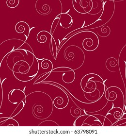 Seamless floral swirl red pattern. Raster version. Vector version is in my gallery.