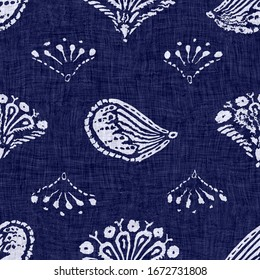 Seamless floral texture. Indigo blue woven boro cotton dyed effect background. Japanese repeat batik pattern swatch. Block print distress flower dye damask. Asian all over textile. Worn cloth print