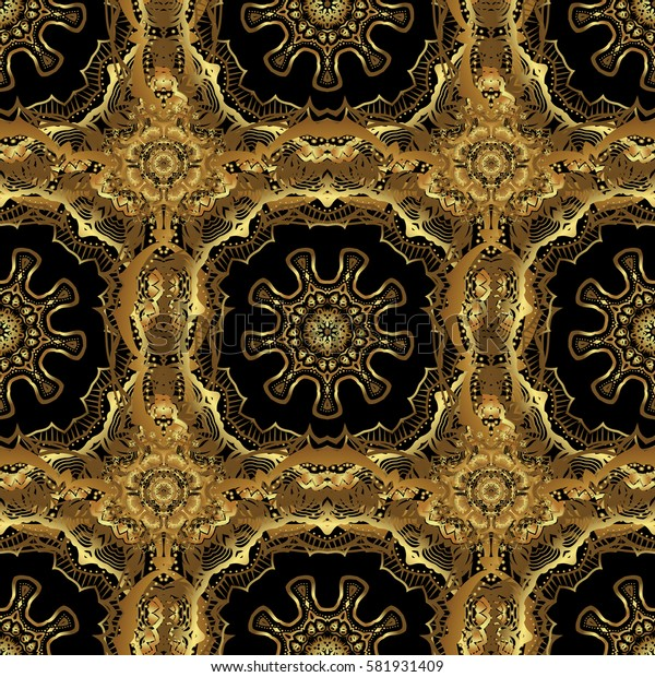 Seamless floral tiling pattern in gold and black colors. Vintage damask ornament.