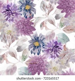 seamless floral watercolor pattern with purple,blue,magenta asters and leaves