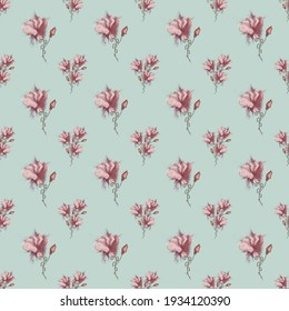 Seamless floral watercolour pattern with red clove flowers on a blue background