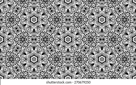 Vintage Vector Seamless Floral Zentangle Wallpaper Pattern