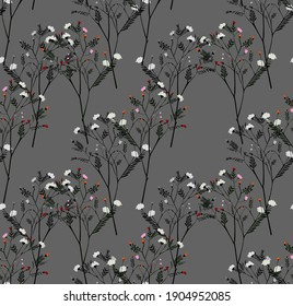 seamless flower branch print, floral bouquet for t-shirt, background, wallpaper and all uses