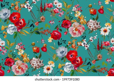 Seamless flower Bunch Pattern with digital background