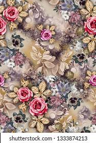 seamless flower design with  digital ground