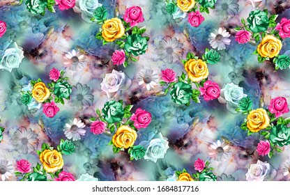 Seamless flower pattern with nice looking colors