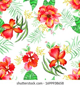 Seamless flower, watercolor pattern flower, tropical red flowers, white background