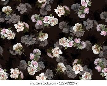 Seamless flowers with dark groundings material digital pattern